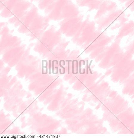 Tie Dye Shibori Seamless Pattern. Watercolor Hand Drawn Pastel Color Ornamental Elements On White Ba