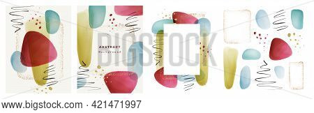 Transparent Texture Watercolor Brushes, Gold Dots Frame, Calligraphic Strokes, Splashes Set Collecti
