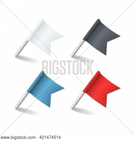 Pins Flags. Colored Pointer Marker Flag Pin. Realistic Red Blue White And Black Pennant, Small Offic