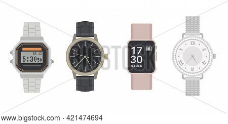 Wrist Watch. Men And Women Mechanical, Digital And Smart Watches. Leather Belt Or Silver Bracelet. M
