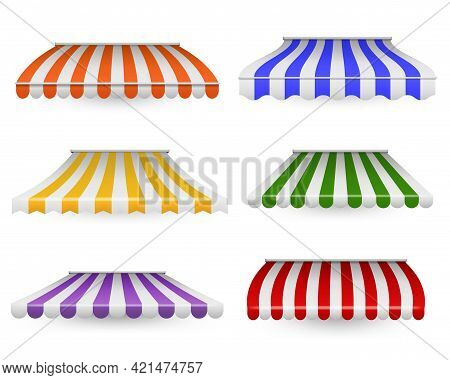Awnings Striped. Outdoor Canopy Colorful For Shop, Restaurants And Market. Store Window And Roof Dec