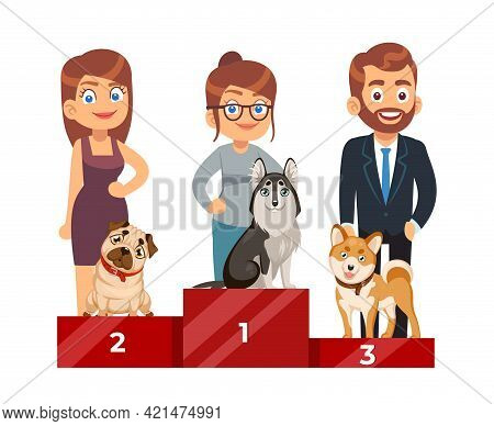 Dog Show. People With Purebred Pets, Cute Domestic Puppy On Pedestal Standing, Award Ceremony, First