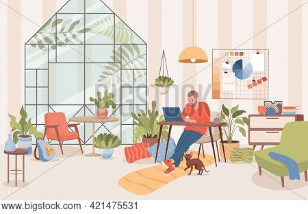 Man Sitting At Home And Working Distance With Laptop Vector Flat Illustration. Freelancer, Remote Wo