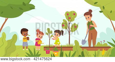 Kids Garden Planting. Happy Children With Women Tend Plants Outdoor, Woman With Little Girls And Boy