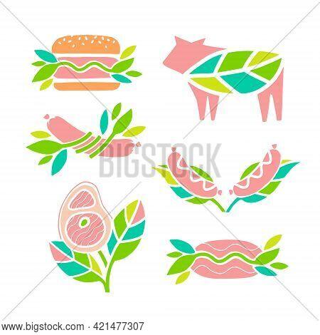 Set Of Vector Icons. Plant Based Meat Concept. Vegan Product. Steak, Sausages, Hamburger, Cutlet, Mi