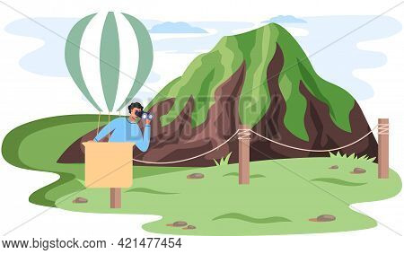 Travel Poster With Man In Hot Air Balloon Looks Through Binocular Flies High Over Top Of Mountain. T