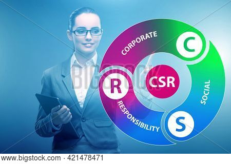Concept of CSR - corporate social responsibility with businesswo