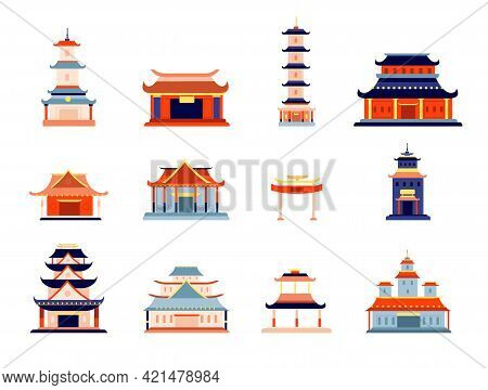 Asian Style Buildings. Chinese Temple Building, Traditional Pagoda Architecture. Korean, Japan Orien