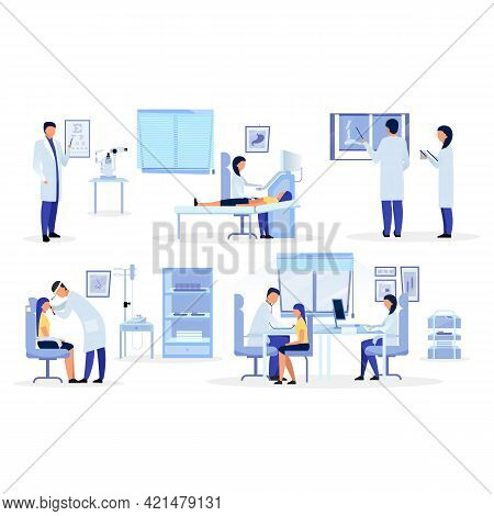 Doctors, General Practitioners, Therapists Flat Illustrations Set. Medical Workers Diagnosing Cartoo