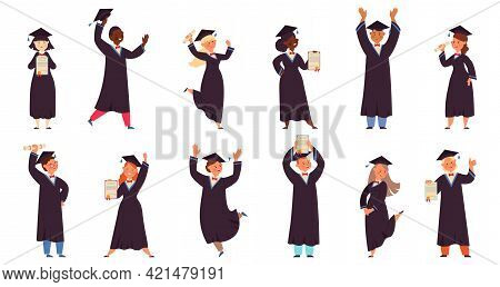 Graduate Characters. Cartoon Graduation Boy, Academic Kids With Diploma. Smiling Students Holding Ce