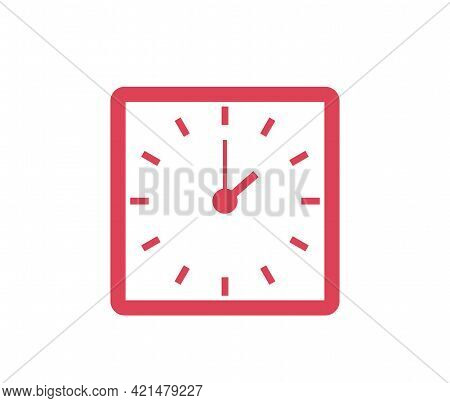 Classic Wall Square Red Clock Icon Isolated On White Background Vector Illustration. Business Style