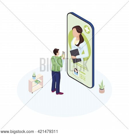 Ehealth Smartphone App Isometric Illustration. Male Patient Communicating With Personal Medical Spec