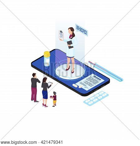 Family Doctor Hologram Isometric Illustration. Cartoon Parents And Child Communicating With Remote G