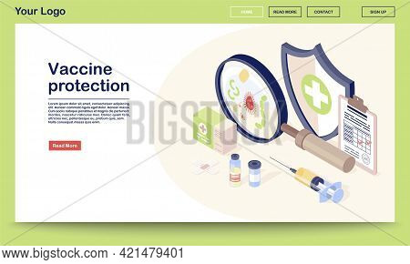 Vaccine Protection Webpage Vector Template With Isometric Illustration. Vaccination Records, Vial, S