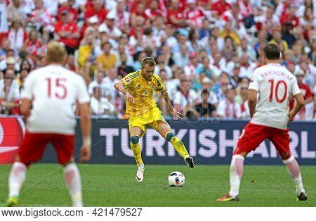 Marseille, France - June 21, 2016: Andriy Yarmolenko Of Ukraine (in Yellow) In Action During Uefa Eu