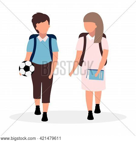 Schoolmates Flat Vector Illustration. Schoolboy And Schoolgirl With Backpacks Cartoon Characters Iso