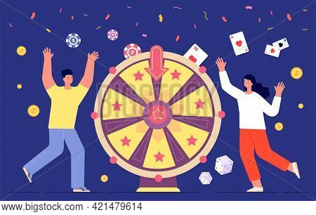 Fortune Game Winner. Wheels Rotation, Lucky People Spinning Roulette Wheel. Woman Lottery Playing, W
