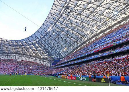 Marseille, France - June 21, 2016: Panoramic View Of Stade Velodrome Stadium ( Orange Velodrome) See
