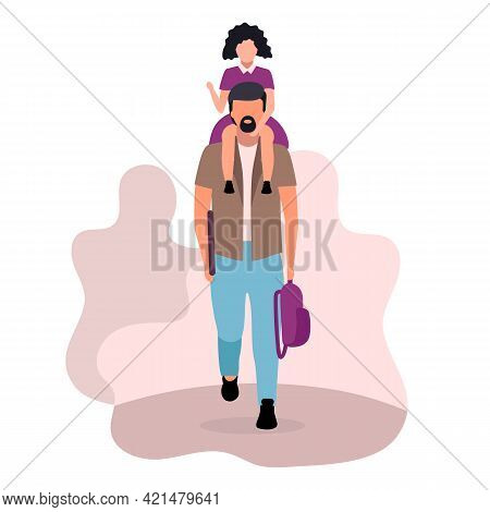 Girl Sitting On Father Neck Flat Vector Illustration. Parent With Schoolgirl And Backpack Going To K