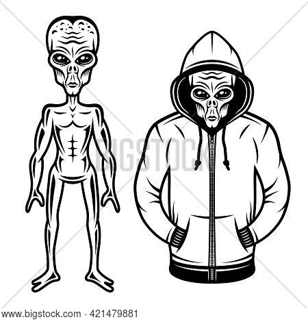 Alien In Hoodie And Full Body Alien Set Of Vector Objects Or Design Elements In Vintage Style Isolat