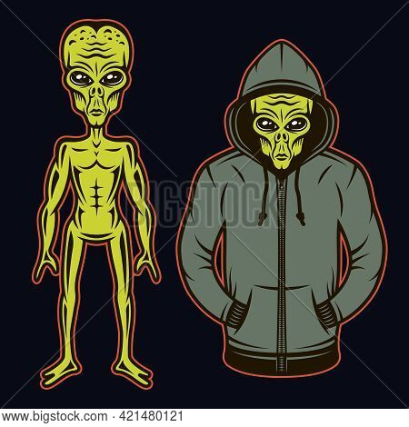 Alien In Hoodie And Full Length Body Alien Set Of Vector Objects Or Design Elements In Cartoon Color