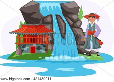 Asian Building Or Temple In Traditional Style On Natural Background. Man Dressed In National Clothes