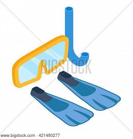 Snorkeling Equipment Icon. Isometric Illustration Of Snorkeling Equipment Vector Icon For Web