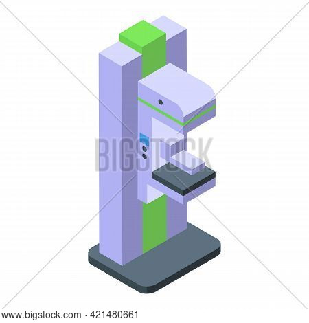 Mammography Machine Diagnosis Icon. Isometric Of Mammography Machine Diagnosis Vector Icon For Web D