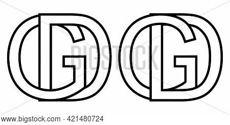 Logo Sign Gd And Dg Icon Sign Interlaced Letters D, G Vector Logo Gd, Dg First Capital Letters Patte
