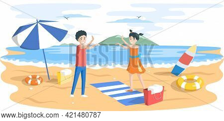 Children Are Playing With Each Other On Sandy Summer Beach. Boy With Girl Walking On Coastline. Char