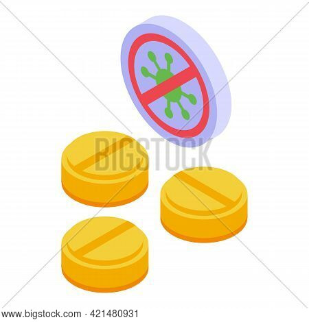 Vitamin Antibiotic Resistance Icon. Isometric Of Vitamin Antibiotic Resistance Vector Icon For Web D