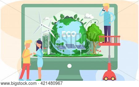 Monitor Screen With Alternative Sources Of Energy, Solar Panels, Wind Turbine. Green Electricity Pro