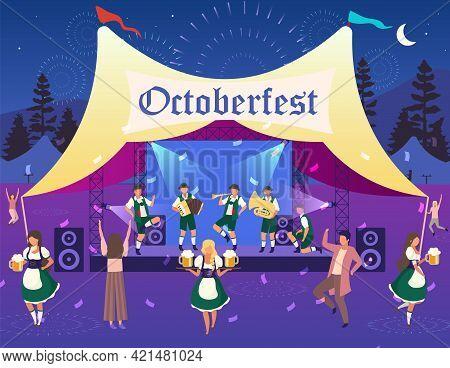 Oktoberfest Flat Vector Illustration. Folk Performance, Concert In Tent. Beer Festival. Music And Da