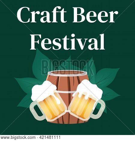 Craft Beer Festival Social Media Post Mockup. Barrel And Cups Of Alcohol. Oktoberfest. Advertising W