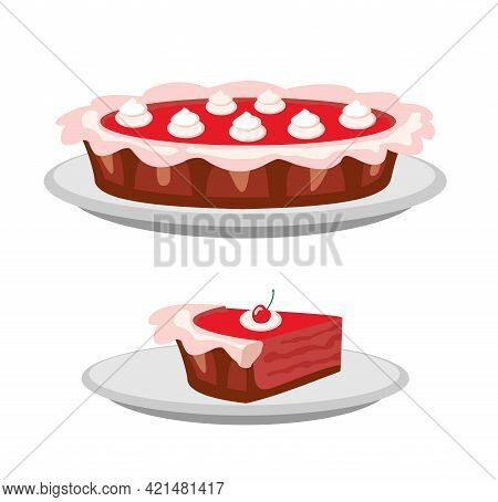 Pies Vector Illustration. Thanksgiving And Birthday. Berry Pie With Whipped Cream On The Top Page Of