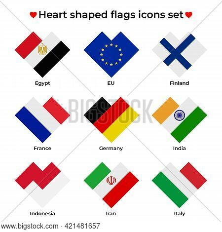 Heart Shaped Flags Icons Set. Flag Icon In Simple Rectangular Heart Shape. Vector Icon, Symbol, Butt
