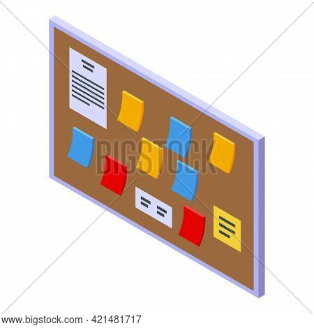 Task Schedule Office Board Icon. Isometric Of Task Schedule Office Board Vector Icon For Web Design