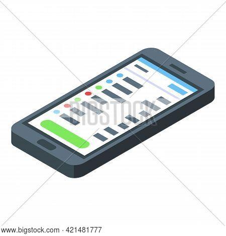 Task Schedule Smartphone Icon. Isometric Of Task Schedule Smartphone Vector Icon For Web Design Isol