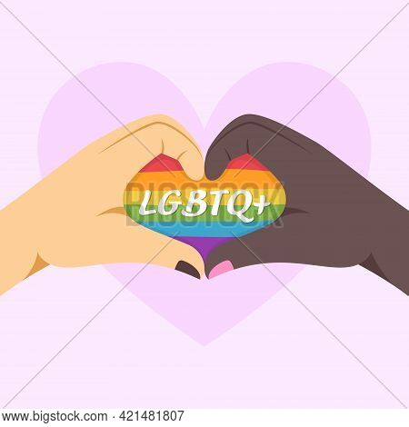 Lgbtq Concept. Different Skin Colors Making Heart Shape By Hands.