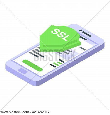 Smartphone Ssl Certificate Icon. Isometric Of Smartphone Ssl Certificate Vector Icon For Web Design