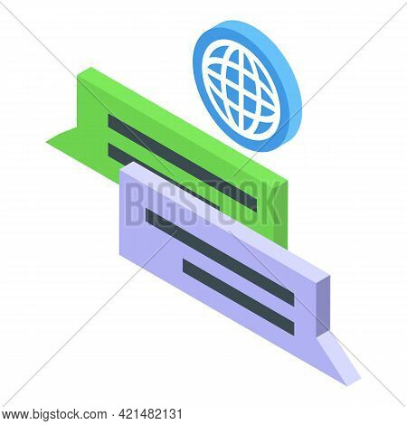 Global Chat Ssl Certificate Icon. Isometric Of Global Chat Ssl Certificate Vector Icon For Web Desig