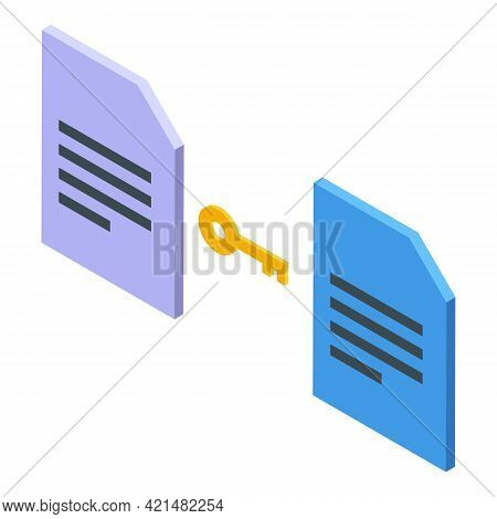 Files Cipher Icon. Isometric Of Files Cipher Vector Icon For Web Design Isolated On White Background