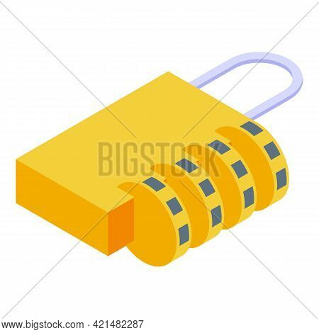 Padlock Cipher Icon. Isometric Of Padlock Cipher Vector Icon For Web Design Isolated On White Backgr