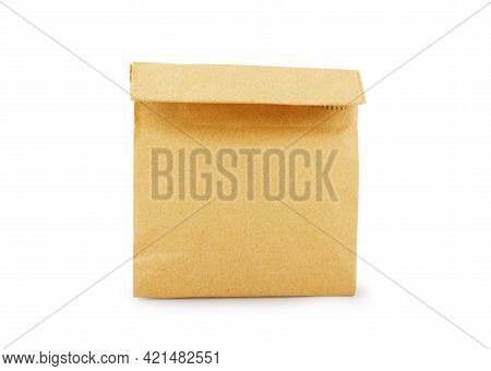 Brown Craft Paper Bag Packaging Template With Stitch Sewing Isolated On White Background. Packaging