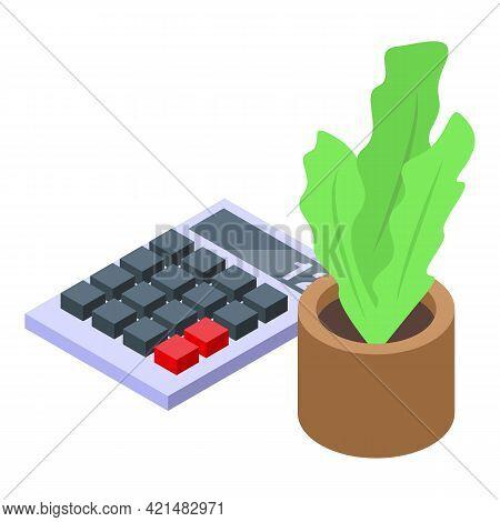 Ergonomic Workplace Plant Pot Icon. Isometric Of Ergonomic Workplace Plant Pot Vector Icon For Web D