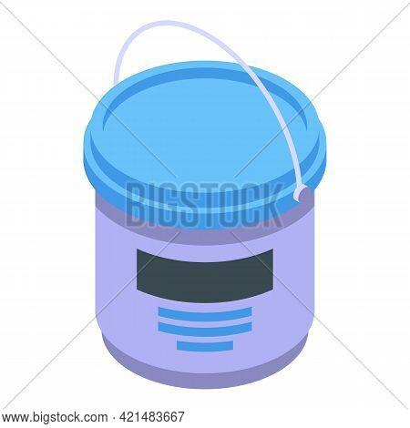 Silicone Caulk Bucket Icon. Isometric Of Silicone Caulk Bucket Vector Icon For Web Design Isolated O