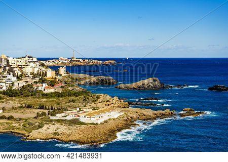 Mediterranean Sea Coast Landscape, Spanish Coastline In Murcia Region. Tourist Site. Cala Reona In C