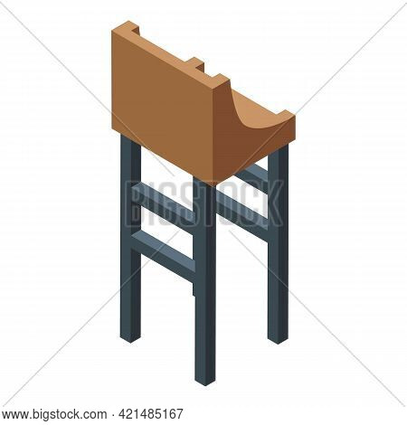 Bar Counter Wood Chair Icon. Isometric Of Bar Counter Wood Chair Vector Icon For Web Design Isolated