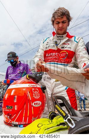 May 19, 2021 - Indianapolis, Indiana, USA: PIETRO FITTIPALDI (R) (51) of Sao Paulo, Brazil prepares to practice for the 105th Running of The Indianapolis 500 at the Indianapolis Motor Speedway