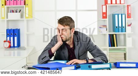 So Exhausted. Man Wear Office Suit. Male Realtor Has Hard Working Day. Online Courses Tutor. Leader